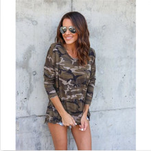 New Fashion Women Ladies Long Sleeve Camouflage Cotton Shirt Casual Tops Slim T Autumn
