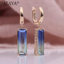 PATAYA New Gradient Blue Long Earrings Women Fashion Party Luxury Jewelry 585 Rose Gold Tourmaline Zircon Square Dangle Earrings