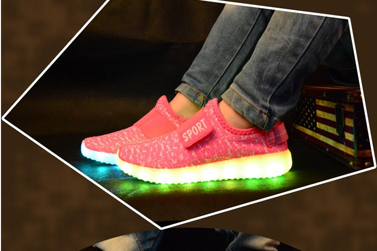 2017 sponge mice brand children boys and girls breathable USB charging LED light shoes casual shoes 5