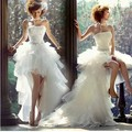 Vestido De Noiva 2016 Wedding Dress Short Front Long Back Lace Up Backless Bride Dress Bridal Gown Sleeveless Wedding Gowns
