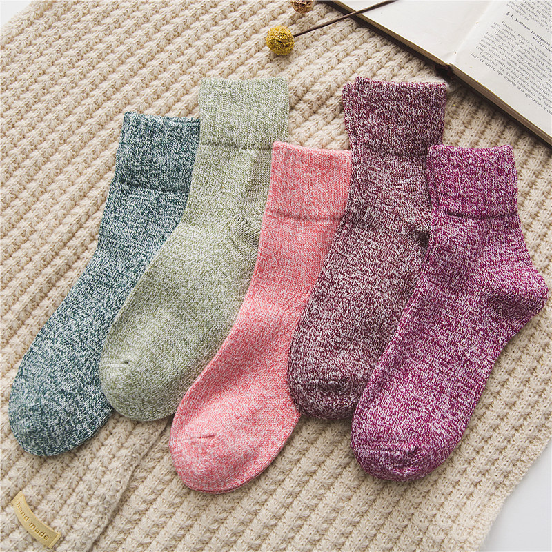 Solid Women   Socks   Simple Winter Wool Thick Warm Breathable Elastic Force Fashion Mid   Socks   For Female