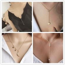Crystal Triangle Water Drop Heart Star Moon Chains Necklace