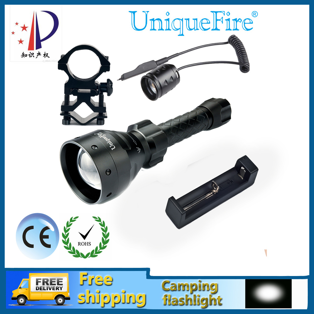 Uniquefire UF-1405-XM-L LED Torch Zoomable 5 Modes 10W Balck Body Waterproof&Bicycle Flashlight+Rat Tail+Scope Mount+ChargerUniquefire UF-1405-XM-L LED Torch Zoomable 5 Modes 10W Balck Body Waterproof&Bicycle Flashlight+Rat Tail+Scope Mount+Charger