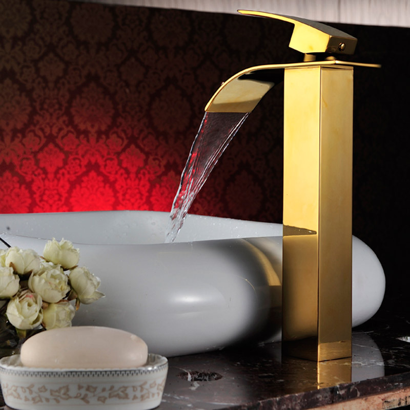 Salle de bain grand bassin doré robinet haut bassin robinet évier mitigeur cascade bassin robinet d'eau salle de bain robinet mixerSD-S-H-005A - 4