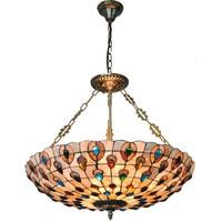 European Creative Color Beads Suspension Wire Pendant Lamp Tiffany Stained Glass Decorate Corridor Restaurant Light Fixture P748