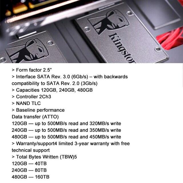 Kingston Digital A400 SSD 960GB SATA 3 2.5 inch Internal Solid State Drive HDD Hard Disk HD SSD 960 gb Notebook PC 3