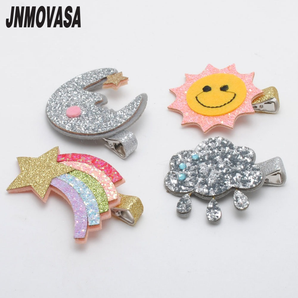 2pcs/lot Girls Hair Accessories Glitter Sun And Moon Hairpins Kids Hair Barrette Cloud Kids Pretty Hairclips