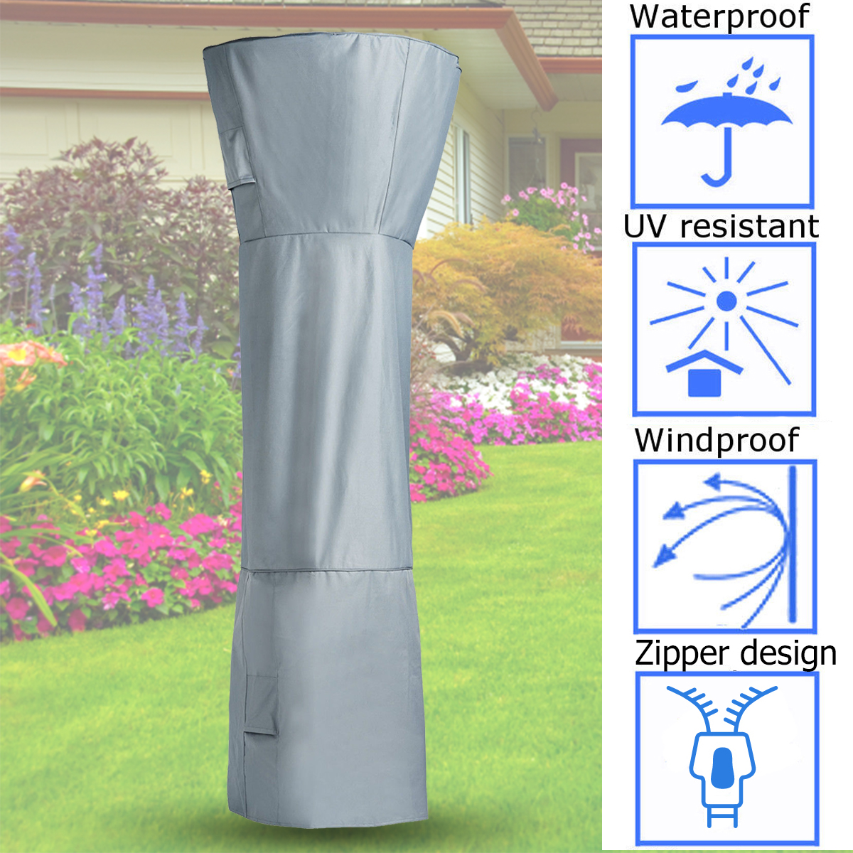 Liberal Polyester Patio Heater Cover For Mushroom Shape Type Heater Waterproof Protector Cover Fabric Outdoor Home Garden 251cmx91cm Dust Covers