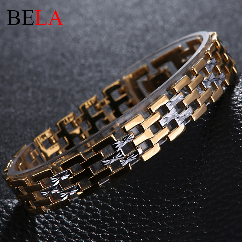 Men Stainless Steel font b Bracelet b font 2016 Gold Plated Chain font b Bracelets b