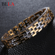 Men Stainless Steel Bracelet 2016 Gold Plated Chain Bracelets Men Jewelry Accessories Wristband Men Bracelets MS4058