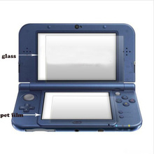 Top Tempered Glass for Nintendo New 3DS XL/LL 3DSXL/3DSLL LCD Screen Protector Bottom PET Clear Full Cover Protective Film Guard