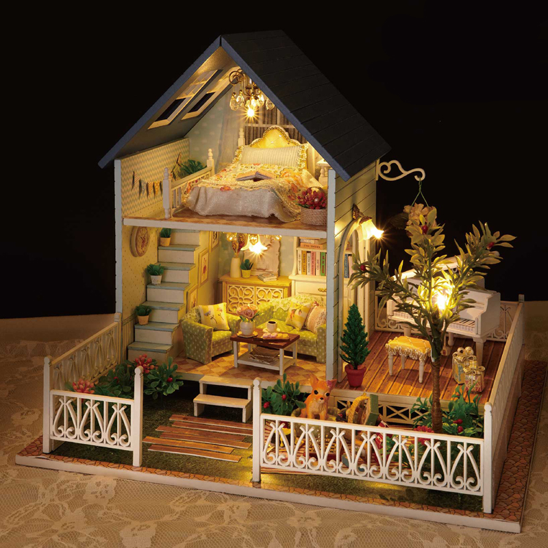 Elegant DIY Miniature Model Dollhouse With LED 3D Wooden House Furniture Toys Birthday Gifts To Children A030 #D