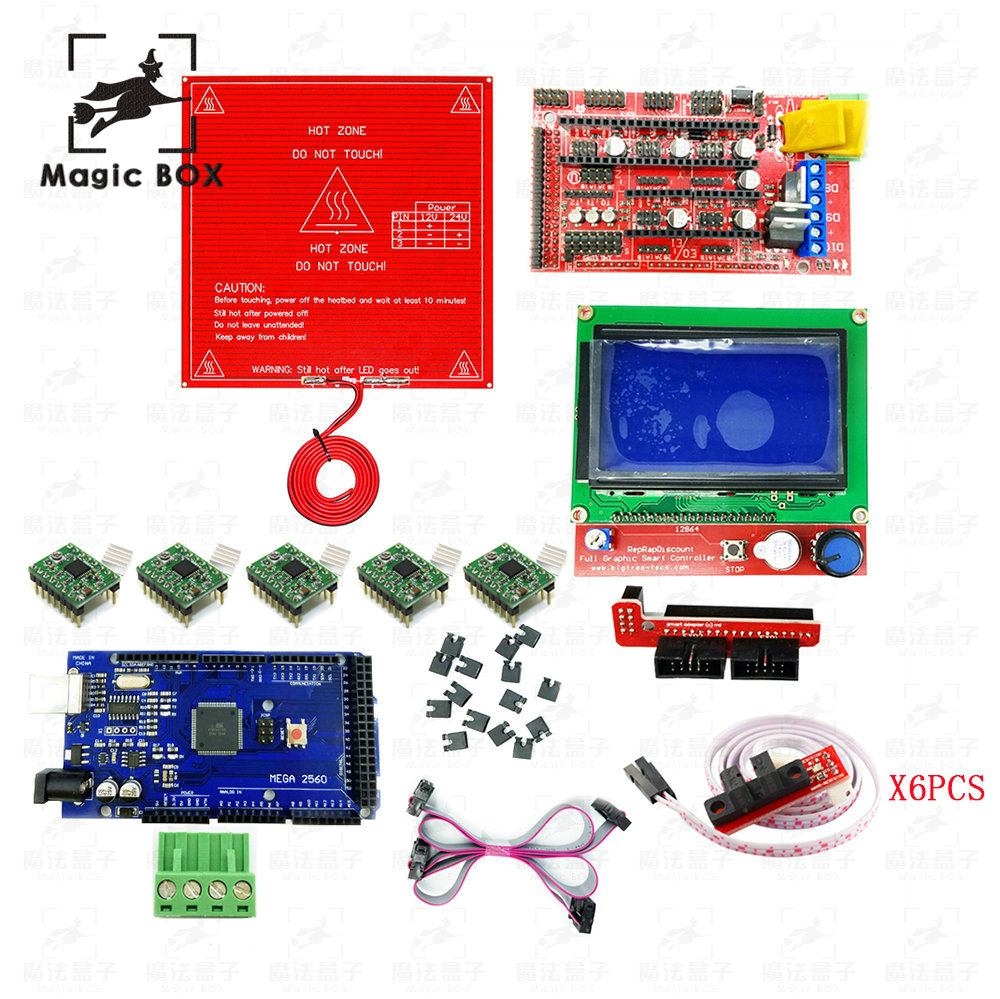 3D Printer parts Kit RAMPS 1.4 Controller + LCD 12864 + 6x Optical Switch Endstop + 5x A4988+Mega 2560 R3 +Heated Bed MK2B hailangniao cnc 3d printer kit for mega 2560 r3 ramps 1 4 controller lcd 12864 6 limit switch endstop 5 a4988 stepper