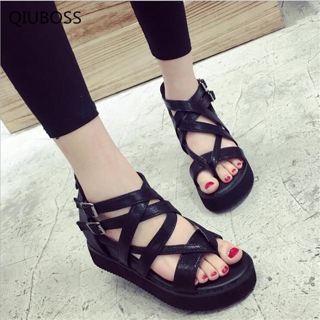 b6f545a06e41 QIUBOSS Fashion Sandals Summer Wedges Women s Sandals Platform Lace Belt  Bow Flip Flops open toe high-heeled Women shoesQ70