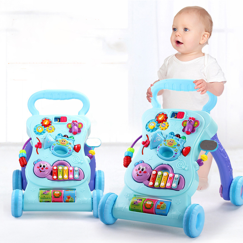 2018 nouveau bébé poussette walker jouet anti-retournement apprentissage debout marche bébé chariot multifonction avec musique
