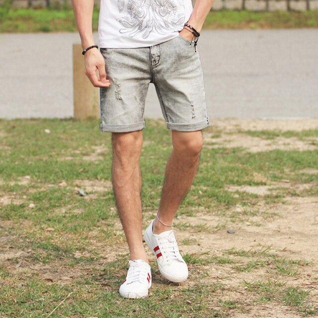 47edcd129 2017 Men Straight Denim Jeans Short Pants Men Ripped Holes Casual Fashion  Shorts Men Fashion New Style High Quality Jeans Shorts