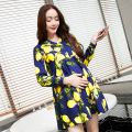 2016 Spring autumn new fashion maternity clothing Printed big yards maternity dress  pregnant woman long-sleeved dresses
