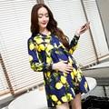 2016 primavera outono nova roupa da moda maternidade impresso grandes estaleiros maternidade dress mulher grávida longo-sleeved vestidos