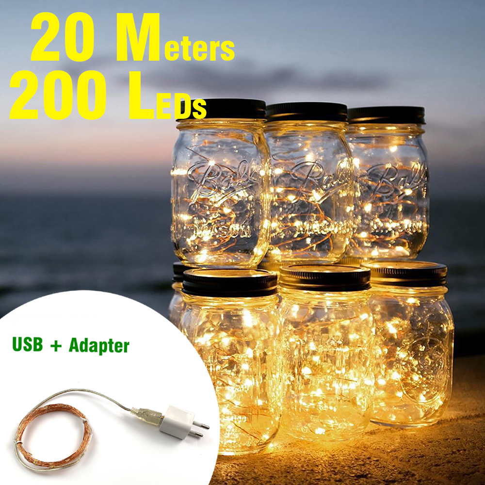 2M 5M 10M 100 LED Strings Copper Wire Battery Operated / USB Christmas Wedding Garden Party Decoration LED String Fairy Lights