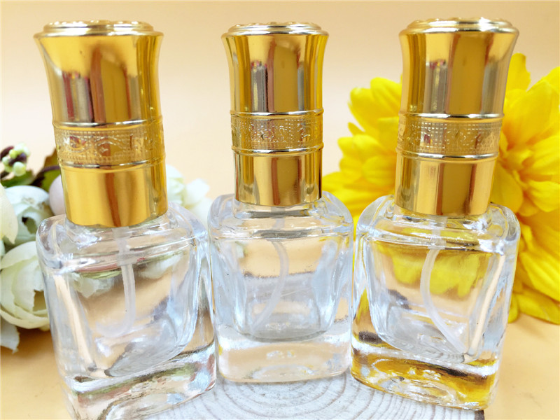 Купить с кэшбэком 8ml Gold Lids Glass Perfume Bottle Women Makeup Fragrance Bottle Atomizer Pump Sprayer Cosmetic Containers 10pcs/lot DC795