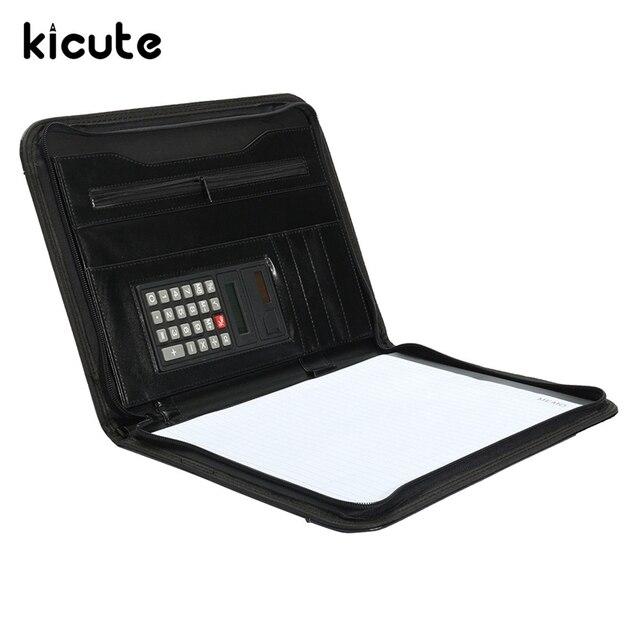 14eefe8685 Kicute A4 Cartelle Conferenza In Pelle Con Zip Portafoglio Organizer Con  Calcolatrice Gestore Cartella di File