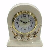 Винтаж белый Керамика цветочным Дизайн стоя Mute стол настольные часы