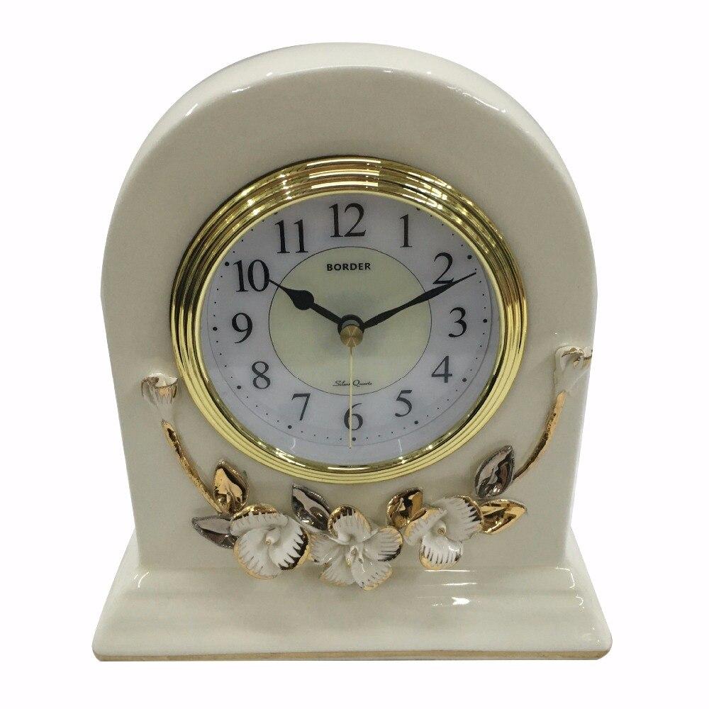 Vintage White Ceramic flower Floral Design Standing Mute Desk Table Clock
