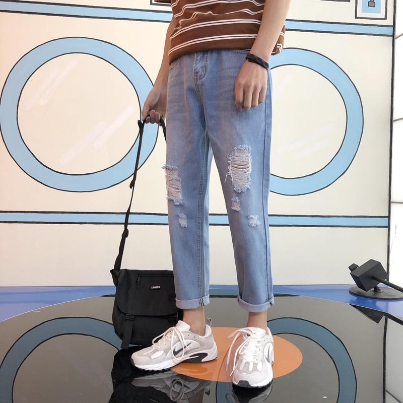 2018 New Korean Men Fashion Casual Blue Holes Bound Feet Beggar Cowboy Pants Tide Stretch Slim Fit Jeans Homme Denim Trousers