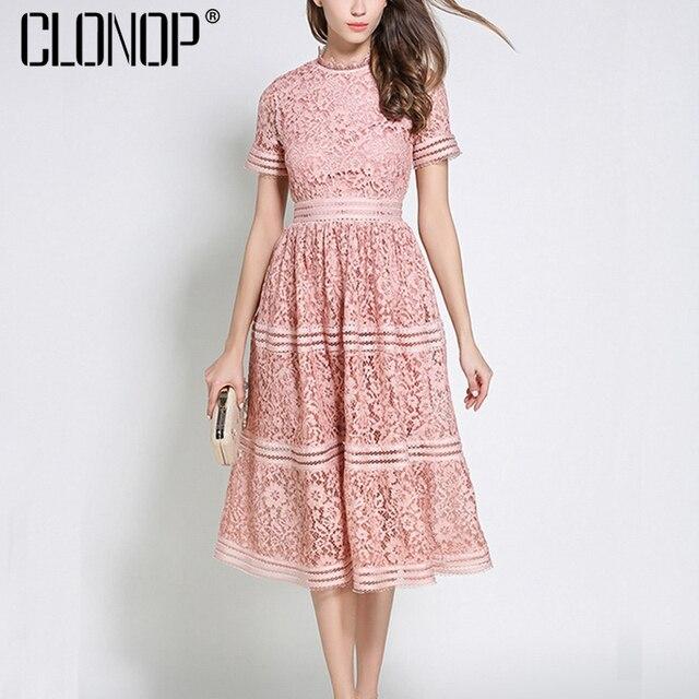 CLONOP Lace Floral Sumemr Dress Women 2018 One shoulder Short Sleeve ...