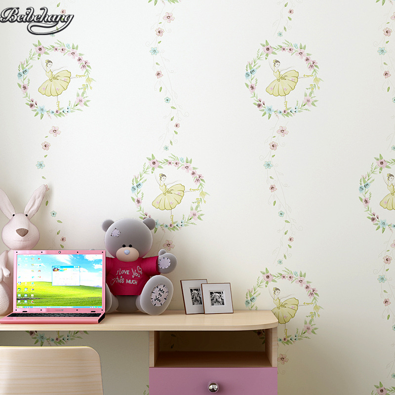beibehang Room wallpaper environmental non - woven children 's room bedroom girl bedside background cartoon ballet free shipping british children room pure paper wallpaper star vertical stripes male girl bedroom bedside study wallpaper