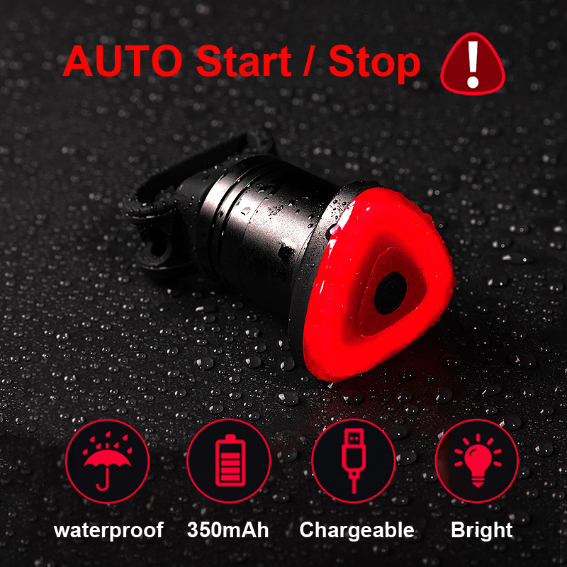 2019 New Smart Cycle Rear Lamp Brake Light Bicycle Auto/Manual Control 48Hrs Work Time Alloy Housing USB Charge Bike Flashlight