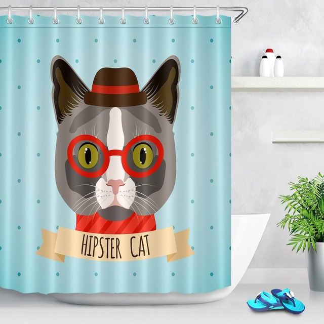 LB Hipster Cat Bath Curtain Cartoon Funny Shower Curtains With 12 Hooks Set Waterproof Polyester Fabric