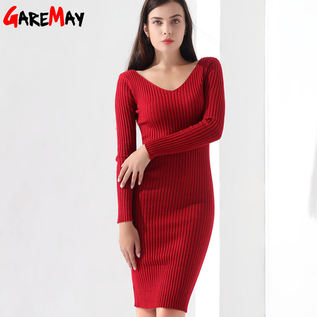 Sweater Dress Women Knitted Slim Pullover Clothing V Neck Sweater Ladies Long Sleeve chandail femme dress warm Ladies GAREMAY