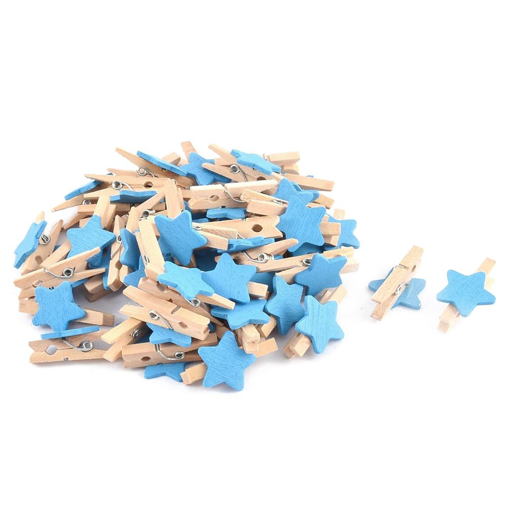 Card Photo Clothespin Pegs Star Crafts Mini Wooden Clip 50pcs Blue