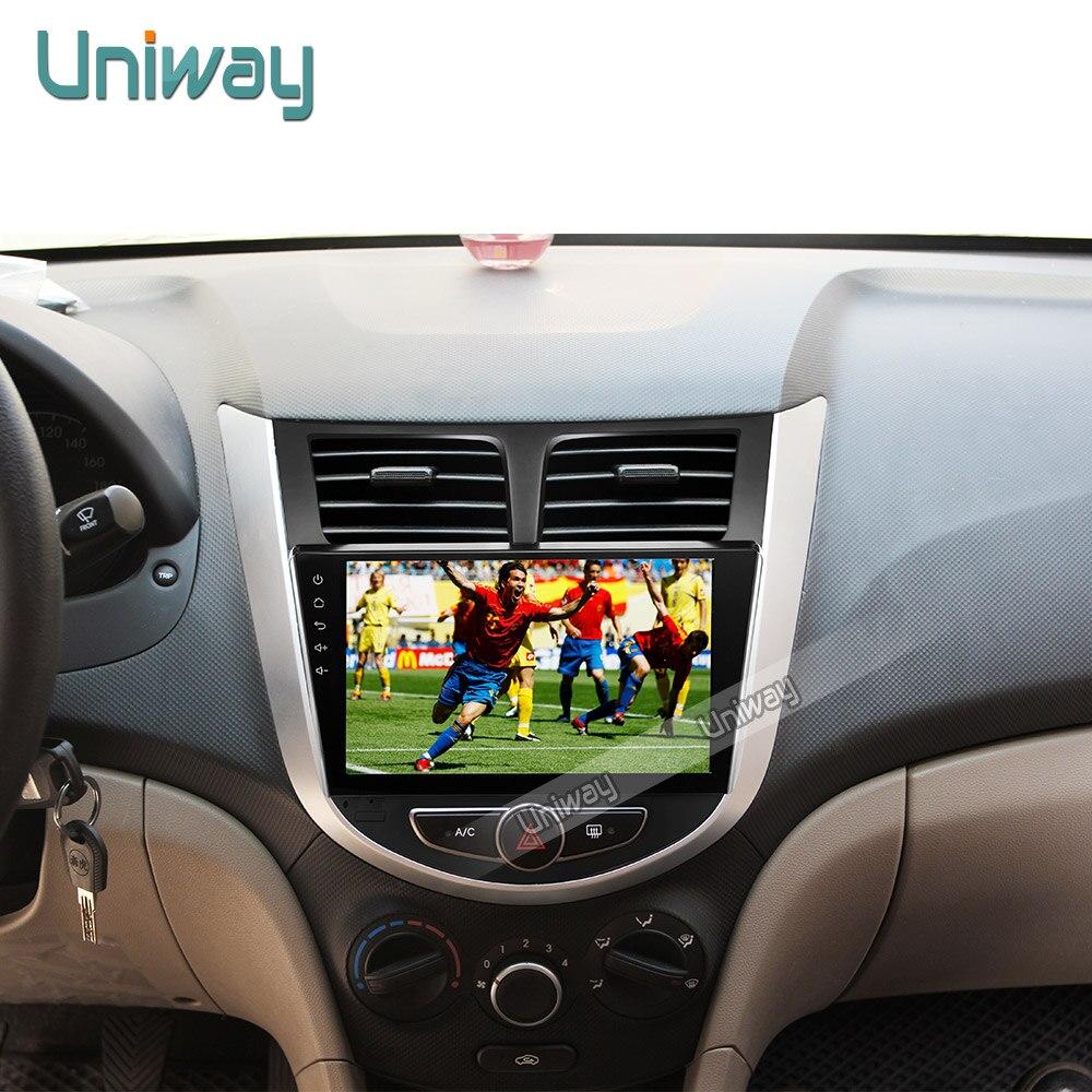 imágenes para Uniway 2G + 16G 2 din android 6.0 dvd del coche para hyundai solaris accent verna 2011 2013 2014 2015 gps de radio del coche del volante