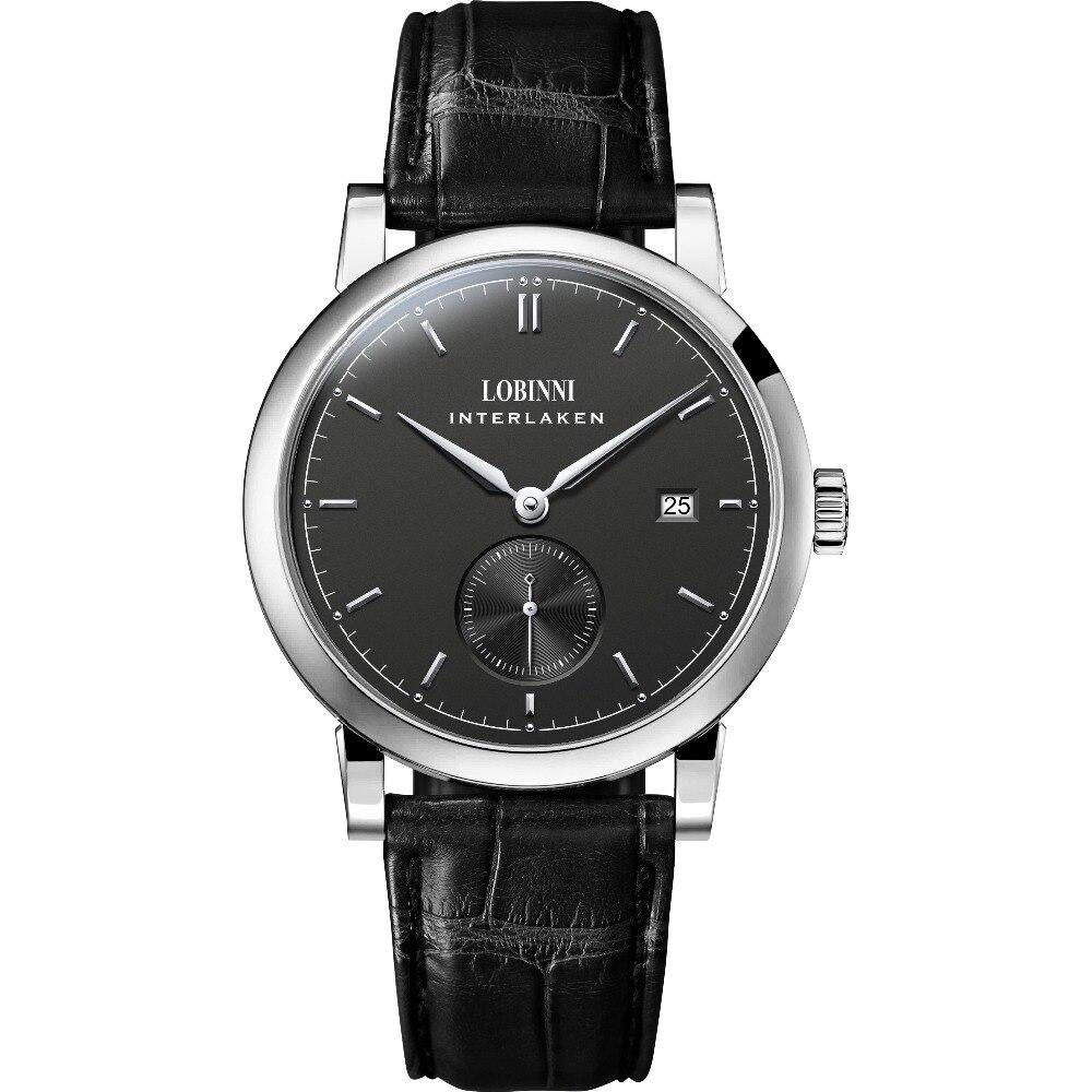 LOBINNI Mens Business 50M Waterproof Leather Strap Simple Style Dress Automatic Self wind Mechanical Wrist Watch Mechanical Watches     - title=