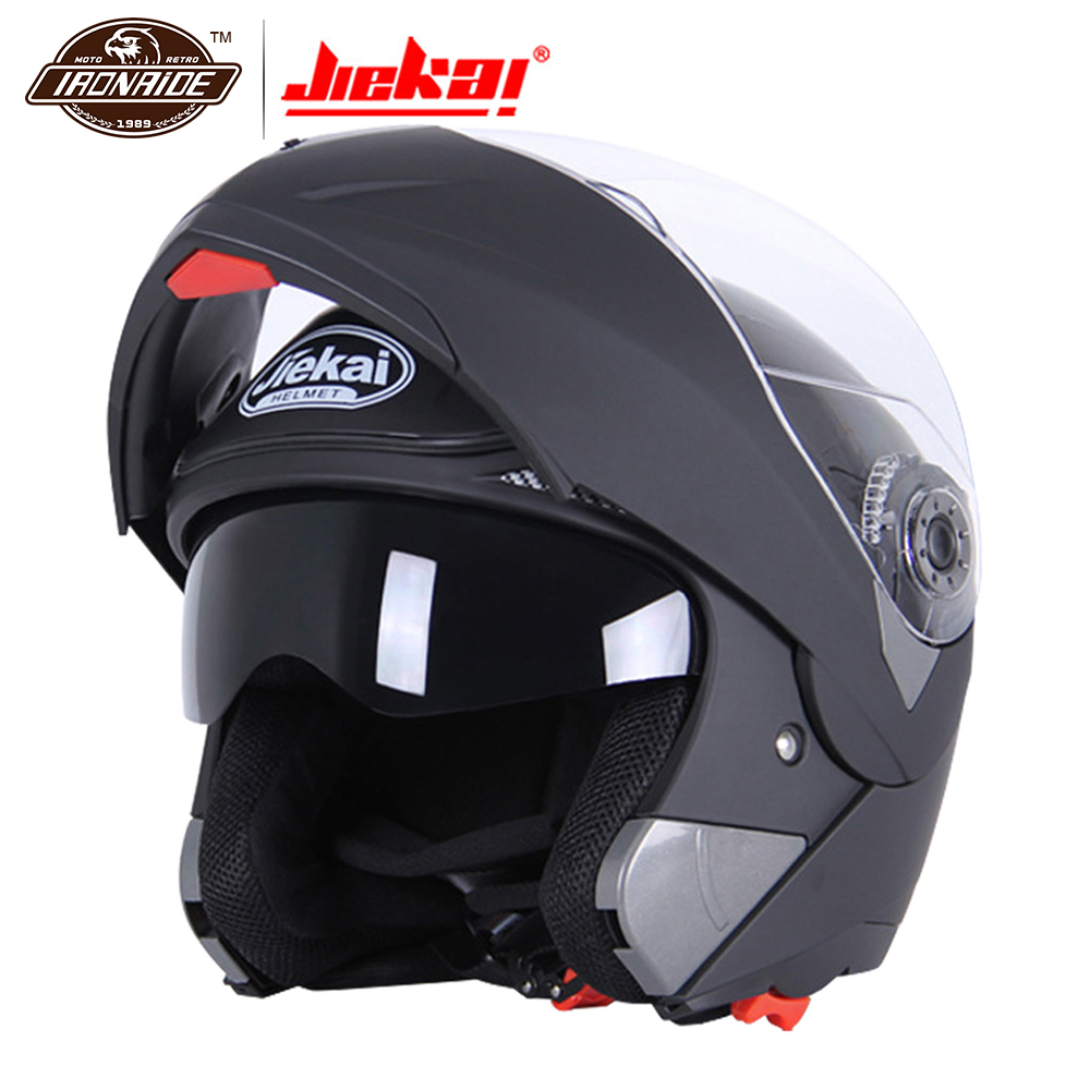 JIEKAI Noir Moto Helme casque de motocross casque intégral Hommes Flip Up Visière Racing Modulaire Moto Équitation Moto Casco