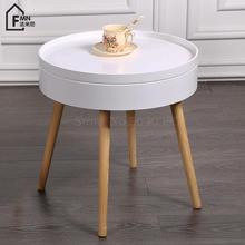 Твердая древесина, скандинавский креативный журнальный столик, простой столик для дивана, угловой столик, несколько кроватей, круглый стол