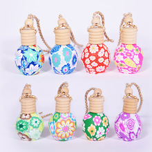 50pcs/lot Empty Glass+Polymer Clay Steam Car Aroma Essential Oil Bottle Pendant Craft Parfum Bottle With Wooden Lid