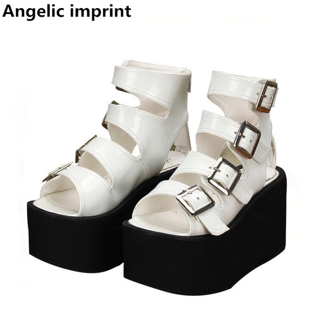 c404306422a4 Angelic imprint new mori girl lolita shoes woman cosplay punk shoes lady  high heels wedges Pumps women dress party sandals 10cm