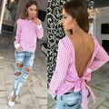 Fashion Backless Bow Summer Women Chiffon Backless Striped Printing LooseT-Shirt  Long Sleeve Tops