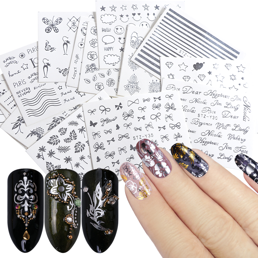 16 Designs Nail Stickers Decals Water Transfer Nail Wraps Silver Flowers Jewelry Tattoos Sliders Manicure Decorations TRSTZ-YS16