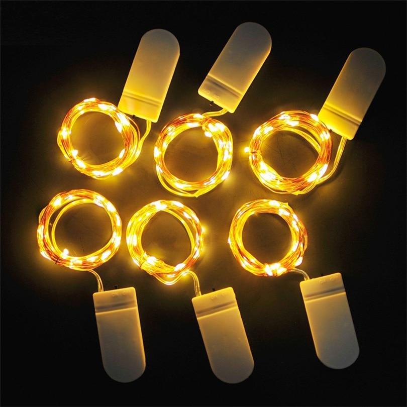 10 Uds., 1 M, 2 M, 3 M, 5 M, alambre de cobre, cadena de luces LED, guirnalda de hadas de iluminación para Navidad, árbol, decoración para fiesta de boda