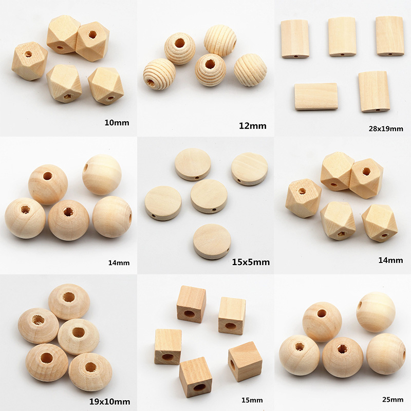45Pcs/Lot DIY 9 Style Mixed Lead-free Natural Wood Beads Fit Handmade Jewelry Accessories