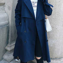 Fitaylor New 2019 Double Breasted Mid-long Trench Coat Women Casual Slim Belt Cloak Vintage Windbreaker Outwear