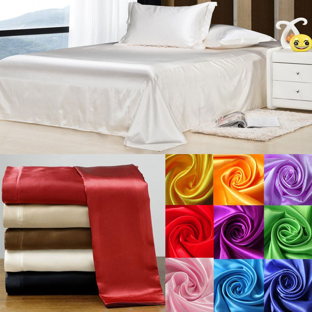 Wedding bed sheet set - Wholesale 100 Soft Skin Satin Silk Bed Sheet Pillowcases Wedding Bedding Set Sabanas
