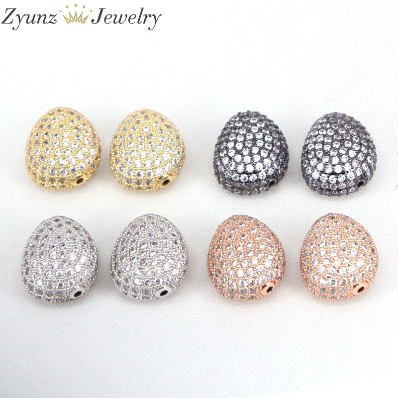 10pcs Zyz312 2592 Micro Pave Cz Spacer Loose Beads Copper