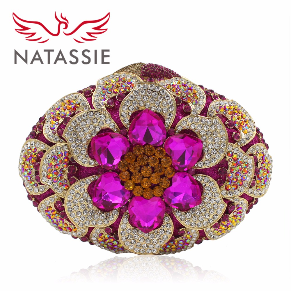 NATASSIE  Women Luxury Crystal Evening Clutch Bags Ladies Party Flowers Bag Wedding Clutches natassie new design luxury crystal clutch women evening bag gold red ladies wedding banquet party purses good quality