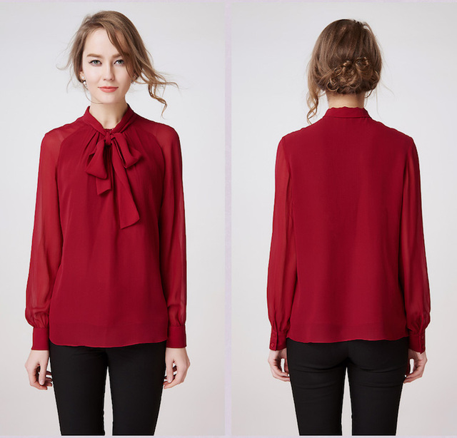 100% jedwab szyfon koszula, czysty, jedwab, szyfon, bluzki