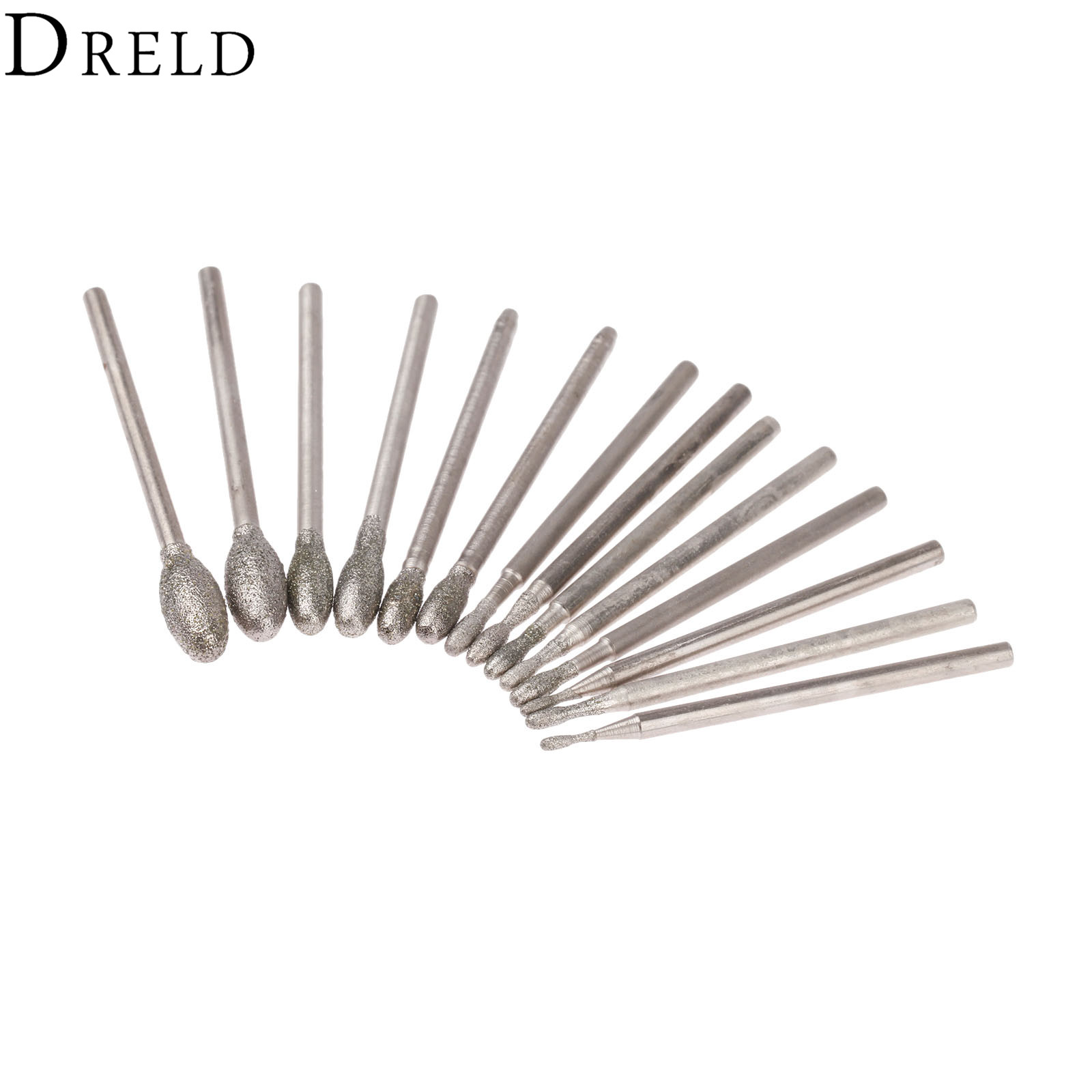 DRELD 14Pcs Dremel Accesories Oval Diamond Grinding Head Burrs Bits 2.35mm Shank Jade Stone Carving Polishing Engraving Tool